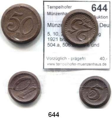 P O R Z E L L A N M Ü N Z E N,Münzen von anderen Deutschen Keramischen Fabriken Bunzlau 5, 10, 25 und 50 Pfennig 1921 braun.  Scheuch 504.a, 506.a, 508.a und 510.a.  Menzel 4020.  SATZ 4 Stück
