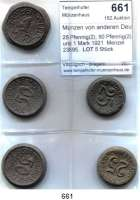 P O R Z E L L A N M Ü N Z E N,Münzen von anderen Deutschen Keramischen Fabriken Stadtlengsfeld 25 Pfennig(2); 50 Pfennig(2) und 1 Mark 1921  Menzel 23895.  LOT 5 Stück
