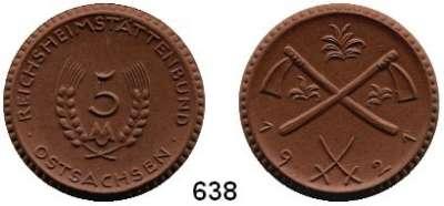 P O R Z E L L A N M Ü N Z E N,SPENDENMÜNZEN VON VERBÄNDEN UND VEREINEN Ostsachsen 5 Ohne Markbezeichnung 1921 braun.  Reichsheimstättenbund.