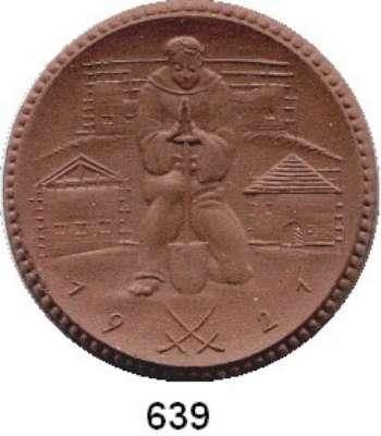P O R Z E L L A N M Ü N Z E N,SPENDENMÜNZEN VON VERBÄNDEN UND VEREINEN Ostsachsen 20 Ohne Markbezeichnung 1921 braun.  Reichsheimstättenbund.