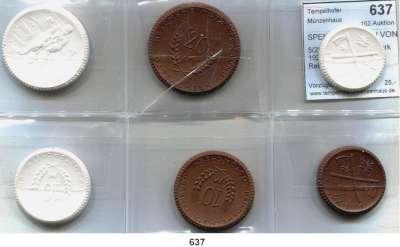 P O R Z E L L A N M Ü N Z E N,SPENDENMÜNZEN VON VERBÄNDEN UND VEREINEN Ostsachsen 5(2), 10(2) und 20(2) Mark 1921 braun und weiß.  Reichsheimstättenbund.  LOT 6 Stück.