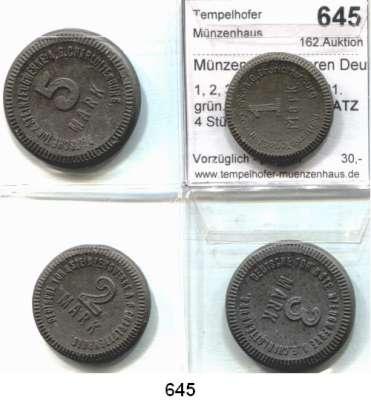 P O R Z E L L A N M Ü N Z E N,Münzen von anderen Deutschen Keramischen Fabriken Charlottenburg 1, 2, 3 und 5 Mark 1921.  grün.  Menzel 4365.  SATZ 4 Stück.