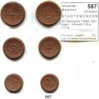 P O R Z E L L A N M Ü N Z E N,S T Ä D T E M Ü N Z E N Freiberg 25 Pfennig bis 1 Mark 1921 braun.  Scheuch 116.a; 117.a; 119.a; 120.a; 122.a und 123.a.  Menzel 8084.   SATZ 6 Stück. (Turmknauf mit und ohne Kreuz).