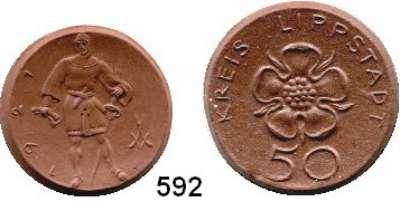 P O R Z E L L A N M Ü N Z E N,S T Ä D T E M Ü N Z E N Lippstadt 50 Pfennig 1921  braun.  Menzel 15378.4 und 5.  26 und 30 mm Ø