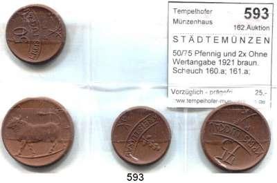 P O R Z E L L A N M Ü N Z E N,S T Ä D T E M Ü N Z E N Luckau 50/75 Pfennig und 2x Ohne Wertangabe 1921 braun.  Scheuch 160.a; 161.a; 163.a und 164.a(Riß).  Menzel 15588.2, 7, 11 und 13.  LOT 4 Stück.