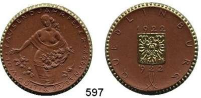 P O R Z E L L A N M Ü N Z E N,S T Ä D T E M Ü N Z E N Quedlinburg 10 Mark 1922 braun, Rand und Reichsadler bronciert.  Menzel 21008.4.