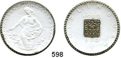 P O R Z E L L A N M Ü N Z E N,S T Ä D T E M Ü N Z E N Quedlinburg 10 Mark 1922 weiß, Rand und Reichsadler bronciert.  Menzel 21008.12.