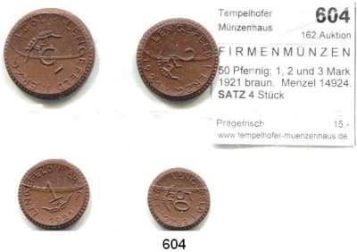 P O R Z E L L A N M Ü N Z E N,F I R M E N M Ü N Z E N Lengefeld 50 Pfennig; 1, 2 und 3 Mark 1921 braun.  Menzel 14924.  SATZ 4 Stück