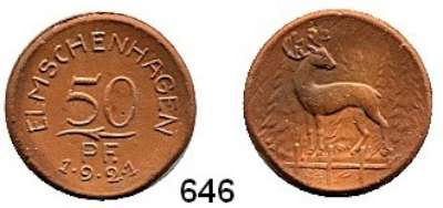 P O R Z E L L A N M Ü N Z E N,Münzen von anderen Deutschen Keramischen Fabriken Elmschenhagen 25 Pfennig 1921 braun.  Menzel 6479.1
