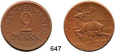 P O R Z E L L A N M Ü N Z E N,Münzen von anderen Deutschen Keramischen Fabriken Elmschenhagen 2 Mark 1921 braun.  Menzel 6479.4.
