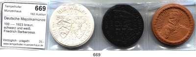 P O R Z E L L A N M Ü N Z E N,Deutsche Majolikamünzen Waiblingen 100 ---- 1923 braun, schwarz und weiß.  Friedrich Barbarossa.  Scheuch 585.a, aIII, n.  SATZ 3 Stück.