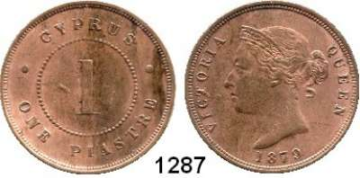 AUSLÄNDISCHE MÜNZEN,Zypern Viktoria 1837 - 1901 1 Cent 1879.  Kahnt/Schön 4.  KM 3.1.