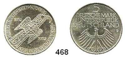 B U N D E S R E P U B L I K,  5 Mark 1952 D    Germanisches Museum.