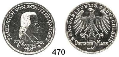 B U N D E S R E P U B L I K,  5 Mark 1955 F      Schiller.
