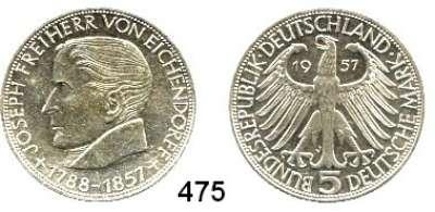 B U N D E S R E P U B L I K,  5 Mark 1957 J.    Eichendorff.