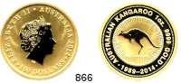 AUSLÄNDISCHE MÜNZEN,Australien Elisabeth II. seit 1952 100 Dollars 2014 P (31,1g fein, Goldunze).  25 Jahre Anlagemünze - Känguru.  GOLD