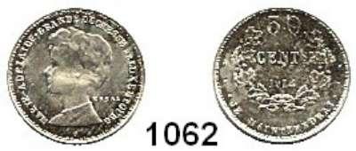 AUSLÄNDISCHE MÜNZEN,Luxemburg Marie Adelaide 1912 - 1919 50 Centimes 1914.  ESSAI.  Silberprobe.  Riffelrand.  17,6 mm. 2,2 g.