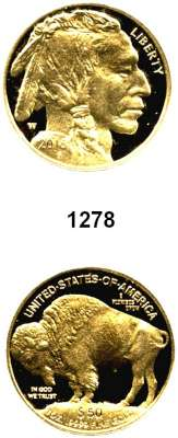 AUSLÄNDISCHE MÜNZEN,U S A  50 Dollars 2016 W.  (31,1g fein, Goldunze).  American Buffalo.  Im Holzetui mit Zertifikat.