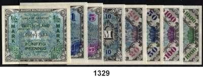 P A P I E R G E L D,A L L I I E R T E      B E S E T Z U N G  1/2 Mark bis 1000 Mark 1944.  1/2 Mark US-Druck, sonst UdSSR-Drucke.  Ros. AMB 1 bis 8.  SATZ 8 Scheine