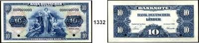 P A P I E R G E L D,BUNDESREPUBLIK DEUTSCHLAND  10 Deutsche Mark.  22.8.1949.  Mit blauem Aufdruck SPECIMEN und KN  000000000, Lochentwertung.  (Originalmuster ABNC).  Ros. BRD-4 M 1.