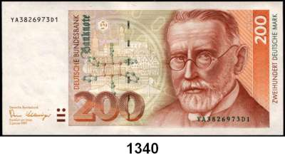 P A P I E R G E L D,BUNDESREPUBLIK DEUTSCHLAND  200 Deutsche Mark 2.1.1989.  YA...D.  Austauschnote.  Ros. BRD-39 b.