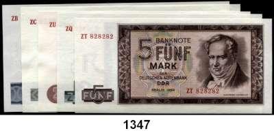 P A P I E R G E L D,D D R  5 bis 100 Mark 1964.  Ros DDR-16 bis 20.   Alles Austauschnoten.  SATZ 5 Scheine.