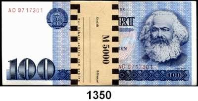 P A P I E R G E L D,D D R  100 Mark 1975.  BB.  Ros. DDR-25 a.  LOT 50 Scheine mit fortlaufender Nummerierung (eine Ersatznote enthalten) und Originalbanderole.