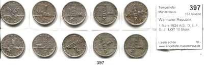R E I C H S M Ü N Z E N,Weimarer Republik  1 Mark 1924 A(5), D, E, F, G, J.  LOT 10 Stück.