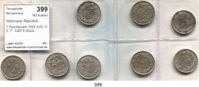 R E I C H S M Ü N Z E N,Weimarer Republik  1 Reichsmark 1925 A(5), D, E, F.  LOT 8 Stück.