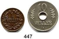 Besetzte Gebiete  -  Kolonien  -  Danzig,Deutsch - Ostafrika L O T S    L O T S    L O T S 1 Heller 1904 A (zaponiert) und 10 Heller 1911 A.  LOT 2 Stück.