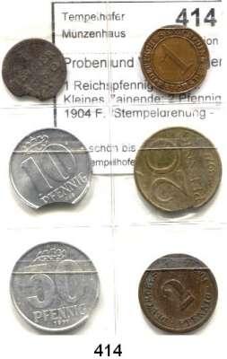 R E I C H S M Ü N Z E N,Proben und Verprägungen  1 Reichspfennig 1929 E.  Kleines Zainende; 2 Pfennig 1904 F.  Stempeldrehung - 350 Grad; Bamberg, 1 Heller 1780.  Zainende; DDR, 10 Pfennig 1968.  Zainende; 20 Pfennig 1971.  Zainende; 50 Pfennig 1971.  Kleines Zainende.  LOT 6 Stück.
