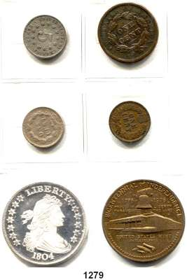 AUSLÄNDISCHE MÜNZEN,U S A L O T S     L O T S     L O T S 1 Cent 1838, 1859, 1887; 5 Cents 1870; Silbernachprägung (999/ 1 Unze) des Dollars von 1804 und Bronzemedaille 1976.  LOT 6 Stück.