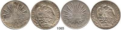 AUSLÄNDISCHE MÜNZEN,Mexiko L O T S     L O T S     L O T S 8 Reales 1891 Mo AM (vz) und 1892 Go RS mit chines.Gegenstempeln