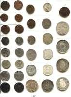 Österreich - Ungarn,Habsburg - Lothringen Franz Josef I. 1848 - 1916 Typensammlung von 33 Münzen.  5/10 Kreuzer bis Gulden.  Darunter 14 Silbermünzen.