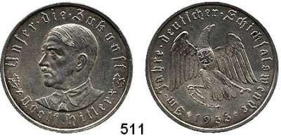 M E D A I L L E N,Personen Hitler, Adolf Silbermedaille 1933 (Oskar Glöckler).  Auf die Machtergreifung.  Brustbild von vorn links. / Adler sprengt Ketten.  Colbert / Hyder C-30.  36 mm.  21,82 g. Rand: PREUSS. STAATSMÜNZE SILBER 900 FEIN.