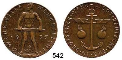 M E D A I L L E N,Medailleur Karl Goetz  Bronzemedaille 1935.  Wehrwille - Wehrpflicht.  Kienast 507.  36 mm.  19,74 g.