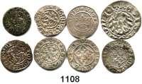 AUSLÄNDISCHE MÜNZEN,Polen LOTS   LOTS   LOTS LOT von 8 Münzen.  Darunter 1/2-Groschen 1509, 1510; Kron-Groschen 1526; Schilling 1583; 1620 Riga.