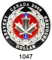 AUSLÄNDISCHE MÜNZEN,Kanada  Dollar 2006 (Farbmünze).  Kanadische Tapferkeitsmedaille.  Schön 663.  KM 656a.  Im Originaletui mit Zertifikat.