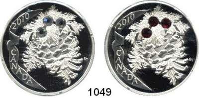 AUSLÄNDISCHE MÜNZEN,Kanada  20 Dollars 2010(2).  Tannenzapfen mit aufgeklebten Kristallen.  KM 1066 und 1067.  Jeweils im Originaletui mit Zertifikat.  LOT 2 Stück.