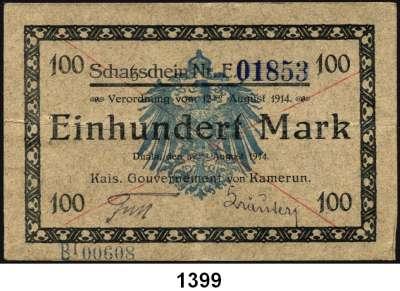 P A P I E R G E L D,D E U T S C H E      K O L O N I E N Kamerun 100 Mark 12.8.1914.  Adler im Unterdruck hellblau.  Strichentwertung.  Mit zusätzlichem blauen Paginierstempel.  Ros. KAM-3 a.