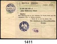 P A P I E R G E L D   -   N O T G E L D,Reichspost Berlin Oberpostdirektion.  10 Milliarden Mark 26.10.1923.  Blauer Hochdruckstempel 26.10.1923.  Mü/Gei/Grab. 500.1.