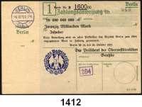 P A P I E R G E L D   -   N O T G E L D,Reichspost Berlin Oberpostdirektion.  20 Milliarden Mark 26.10.1923.  Blauer Hochdruckstempel 26.10.1923.  Mü/Gei/Grab. 500.2.