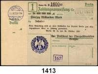 P A P I E R G E L D   -   N O T G E L D,Reichspost Berlin Oberpostdirektion.  50 Milliarden Mark 26.10.1923.  Blauer Hochdruckstempel 26.10.1923.  Mü/Gei/Grab. 500.3.