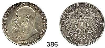 R E I C H S M Ü N Z E N,Sachsen - Meiningen Bernhard III. 1914 - 1918 2 Mark 1915.    Auf den Tod seines Vaters.