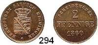 Deutsche Münzen und Medaillen,Sachsen - Meiningen Bernhard II. Erich Freund 1803 - 1866 2 Pfennig 1860.  AKS 215.  Jg. 448.