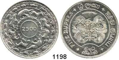AUSLÄNDISCHE MÜNZEN,Sri Lanka (Ceylon)  5 Rupien 1957.  Buddhistische Jahrhundertwende 2500.  Schön 66.  KM 126.