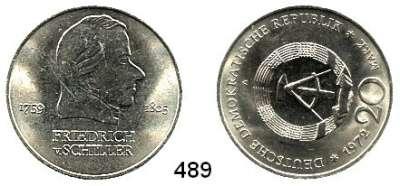 Deutsche Demokratische Republik,  20 Mark 1972  Schiller.  Stempeldrehung 280 Grad.