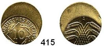 R E I C H S M Ü N Z E N,Proben und Verprägungen  10 Pfennig (1923-1936).  Jg. 309/317.  Dezentriert 45 %.