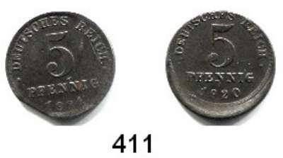 R E I C H S M Ü N Z E N,Proben und Verprägungen  5 Pfennig 1920 E.  Dezentriert 10 % und 1921 A.  Zainendestück.  Jg. 297.  LOT 2 Stück.
