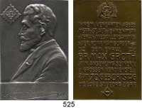 M E D A I L L E N,Freimaurer Hamburg Loge St. Georg zur grünenden Fichte.  Bronze- und Silberplakette 1928 (H. Zehn/ 990).  Dem Bruder Max Groth zum 70. Geburtstag.  Im Originaletui (mit Golddruck auf dem Deckel).  40,5 x 60 mm.  52,66 g. und 40,4 x 60 mm.  61,66 g.